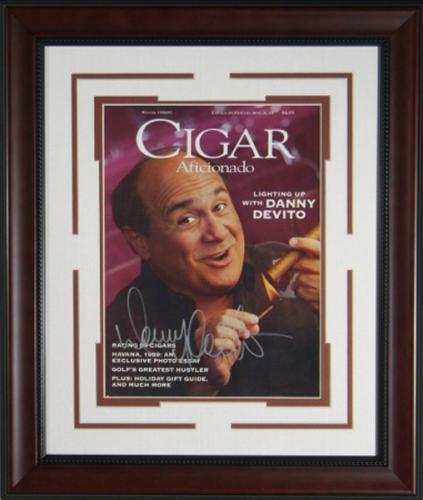 Danny DeVito Signed Cigar Aficionado Framed Display