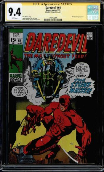 Daredevil #64 Cgc 9.4 White Pages Ss Stan Lee Single Highest Graded #1508472004