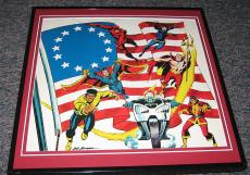 Daredevil Ghost Rider +5 Original Framed 1976 Marvel Bicentennial Poster 12x12