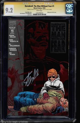 Daredevil The Man Without Fear #1 Cgc 9.2 Ss Stan Lee John Romita Jr #1203795010
