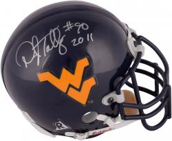 Darryl Talley West Virginia Mountaineers Autographed Riddell Mini Helmet with CHOF 2011 Inscription