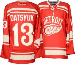 Pavel Datsyuk Detroit Red Wings Autographed Reebok Away Jersey - Mounted Memories