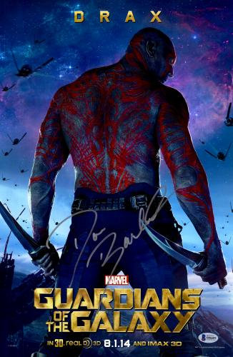 "Dave Bautista Autographed 12"" x 18"" Guardians Of The Galaxy Movie Poster  - Beckett COA"