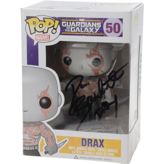 """Dave Bautista Guardians of the Galaxy Autographed #50 Drax Funko Pop! with """"Drax"""" Inscription - JSA"""