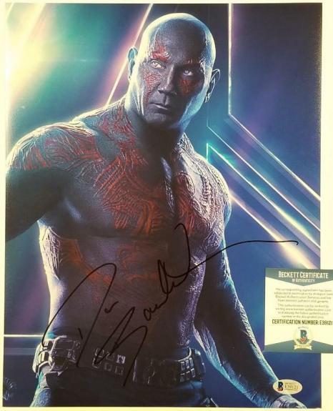 DAVE BAUTISTA Signed 11x14 DRAX Marvel's Avengers Infinity War ~ Beckett BAS COA