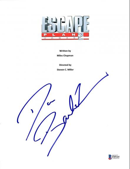 Dave Bautista Signed Escape Plan 2 Movie Script Cover BAS #F09165