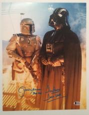 Dave David Prowse Jeremy Bulloch Signed Star Wars 11x14 Photo BECKETT COA 1