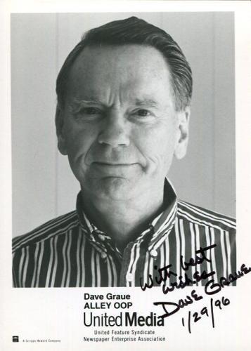 DAVE GRAUE HAND SIGNED 5x7 PHOTO+COA        LEGENDARY CARTOONIST     ALLEY OOP