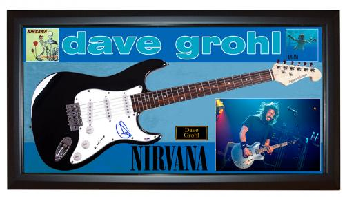 Dave Grohl Autographed Foo Fighters Guitar UACC RD AFTAL COA PSA + Display