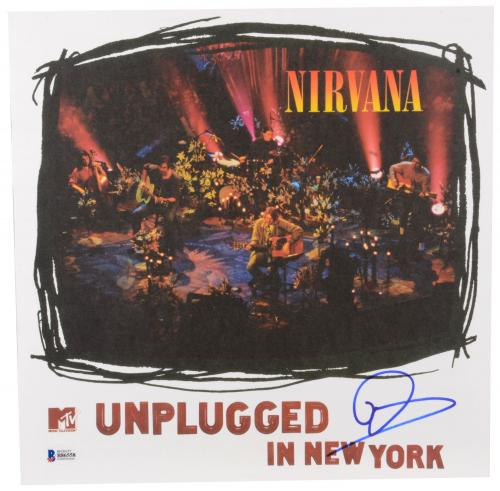 Dave Grohl Autographed Nirvana Unplugged Album Cover- BAS COA