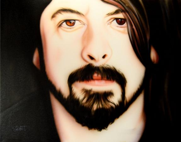 Dave Grohl Foo Fighters Un-Signed Rare Hand Painted 28x22 Canvas Painting