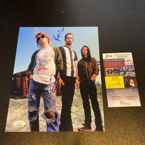 Dave Grohl & Krist Novoselic Nirvana Signed Autographed Photo With JSA COA