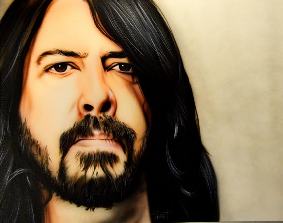 Dave Grohl Nirvana Un-Signed Rare Hand Painted 28x22 Canvas Painting