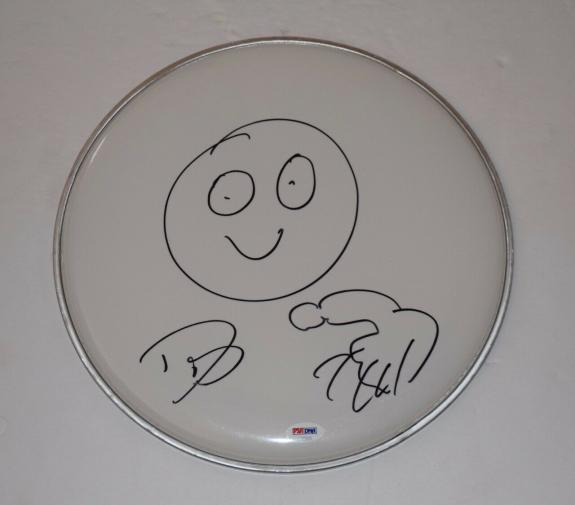 "Dave Grohl Signed 12"" Drumhead Nirvana Foo Fighters Sketch Drawing PSA/DNA COA"