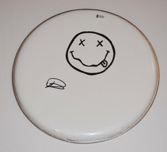 """Dave Grohl Signed Autographed 12"""" Drumhead NIRVANA FOO FIGHTERS Beckett BAS COA"""