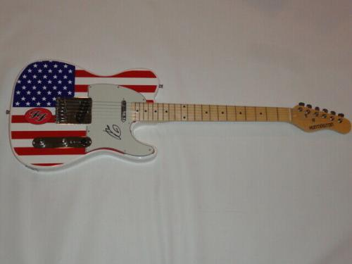 Dave Grohl Signed Usa Flag Electric Guitar The Foo Fighters Nirvana Proof