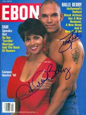 Dave Justice & Halle Berry Autographed / Signed April 1993 Ebony Magazine