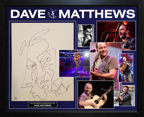 Dave Matthews Autographed Hand Drawn Sketch Portrait Art on Canvas Display PSA