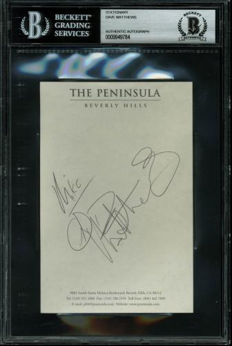 Dave Matthews Signed 4x6 The Peninsula Beverly Hills Stationary BAS Slabbed