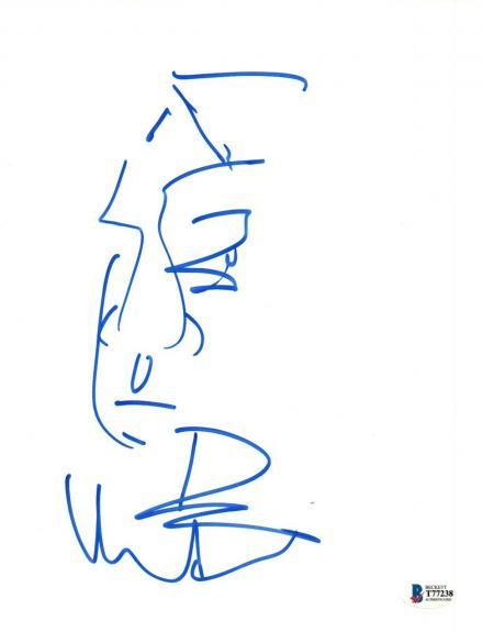 Dave Matthews Signed Autograph 8.5x11 Hand Drawn Sketch Art DMB Band Beckett COA