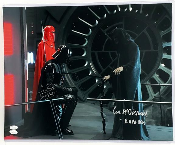 DAVE PROWSE & IAN McDIARMID Signed STAR WARS 11x14 Photo JSA #WP11659 #T91122