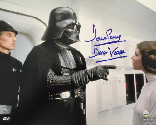 Dave Prowse Signed 8x10 Star Wars Darth Vader w/ Princess Leia Photo Steiner COA
