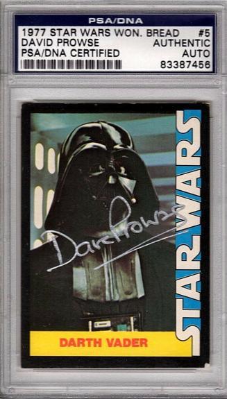 1977 Star Wars Wonder Bread DAVE PROWSE Signed DARTH VADER Card PSA/DNA SLABBED