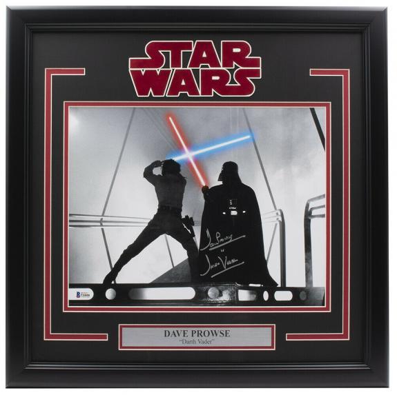 Dave Prowse Signed Framed 11x14 Star Wars Darth Vader Vs Skywalker Photo BAS