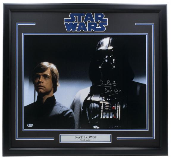 Dave Prowse Signed Framed 16x20 Return of the Jedi Photo Insc. Darth Vader BAS