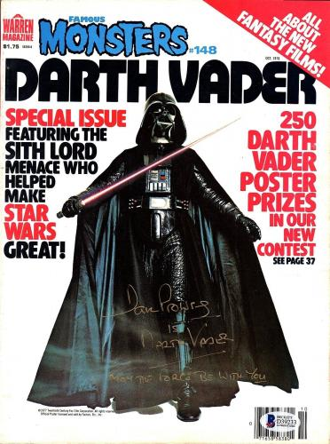 DAVE PROWSE Star Wars DARTH VADER Signed Famous Monsters Magazine BECKETT BAS
