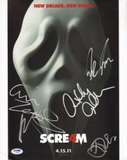 David Arquette & Aimee Teegarden +4 Scream 4 Cast Signed 11x14 Photo PSA/DNA COA