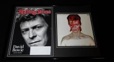 David Bowie Framed 12x18 Photo & 2016 Rolling Stone Cover Display
