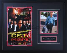 David Caruso signed 8x10 with Briefcase with CSI Miami 11x17 Poster - Professionally Framed