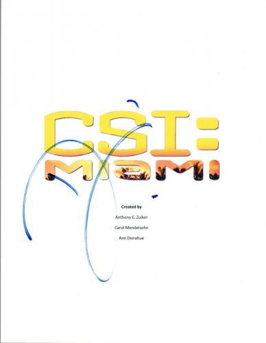 David Caruso Signed Autographed CSI Miami Pilot Episode Script COA AB