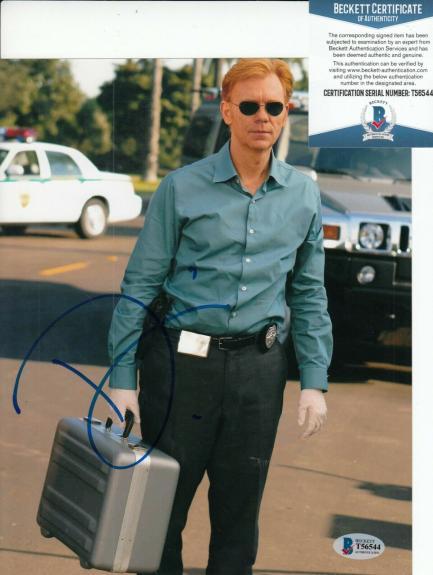 DAVID CARUSO signed (CSI: MIAMI) Horatio Caine 8X10 photo BECKETT BAS T56544