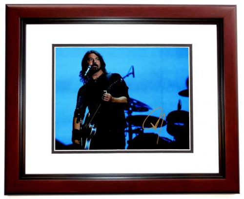 David Grohl - Dave Grohl Signed - Autographed Foo Fighters 11x14 inch Photo - Formerly with Nirvana - MAHOGANY CUSTOM FRAME - Guaranteed to pass PSA or JSA