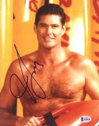 """David Hasselhoff Autographed 8"""" x 10"""" Baywatch No Shirt Photograph - Beckett COA"""