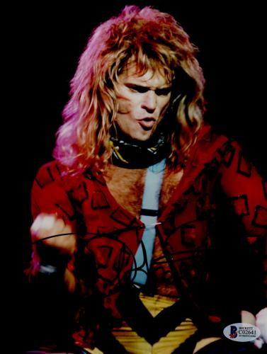 "David Lee Roth Autographed 8""x 10"" Van Halen Dancing on Stage in Red Shirt Photograph - BAS COA"