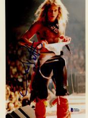 "David Lee Roth Autographed 8""x 10"" Van Halen on Stage with no Shirt Photograph - BAS COA"
