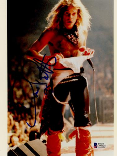 "David Lee Roth Autographed 8""x 10"" Van Halen on Stage with no Shirt Photograph - BAS COA"
