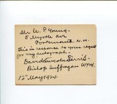David Lincoln Ferris Episcopal Bishop Western New York Signed Autograph