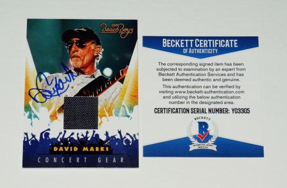 David Marks Autographed Concert Used Shirt Card (the Beach Boys) - Beckett Coa!