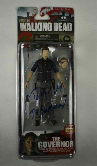 David Morrissey Governor Walking Dead Autographed Signed Action Figure JSA COA
