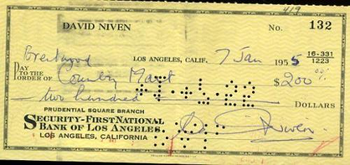 David Niven Signed Jsa Certed Check Authentic Autograph