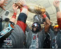 David Ortiz Boston Red Sox 2013 World Series Champions Autographed 16'' x 20'' Champagne Photograph with Big Papi Inscription - Mounted Memories