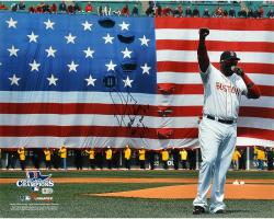 David Ortiz Boston Red Sox 2013 World Series Champions Autographed 16'' x 20'' Flag Photograph with Boston Strong This Is Our F'N City Inscription - Limited Edition of 34 - Mounted Memories