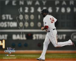 David Ortiz Boston Red Sox 2013 World Series Champions Autographed 16'' x 20'' Green Monster Photograph - Mounted Memories