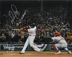David Ortiz Boston Red Sox 2013 World Series Champions Autographed 16'' x 20'' Home Run Swing 2 Photograph with 2013 WS MVP Inscription - Mounted Memories