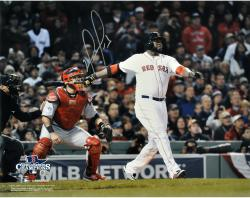 David Ortiz Boston Red Sox 2013 World Series Champions Autographed 16'' x 20'' Home Run Swing Photograph - Mounted Memories