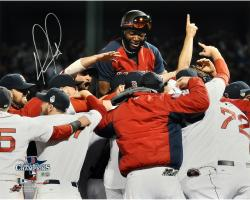 David Ortiz Boston Red Sox 2013 World Series Champions Autographed 16'' x 20'' Team Celebration Photograph - Mounted Memories